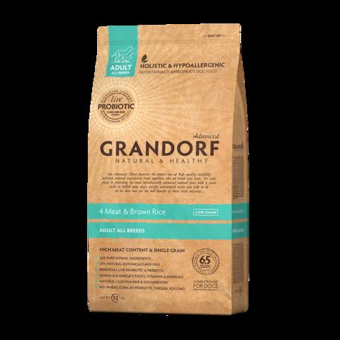 Grandorf 4Meat & Brown Rice Adult All Breeds Сухой корм для взрослых собак всех пород Четыре вида мяса с бурым рисом низкозерновой