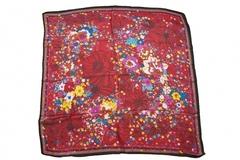 Итальянский платок из шелка бордовый с цветами 0576