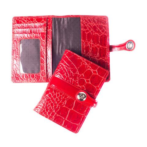 Обложка для паспорта кожаная красная 02-012-3251