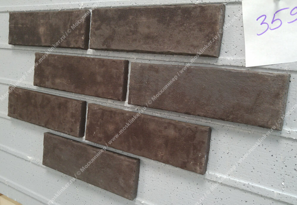 Stroeher, плитка для фасада и внутренней отделки, цвет 359 kohlenglanz, серия Zeitlos, состаренная поверхность, ручная формовка, 400x35x14
