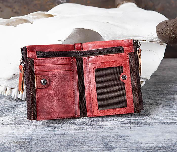WL302-3 Мужской красный кошелек с отделениями на молнии фото 04