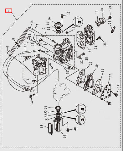 Двигатель в сборе для лодочного мотора T9.8 Sea-PRO (2-1)