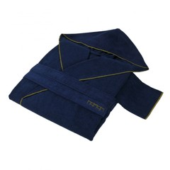 Элитный халат хлопковый Meyzer синий с оливковым от Hamam