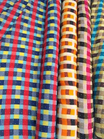 Фото Ткань Штапель Принт Клетка  (Ширина 150 см, Полиэстер) рисунок Ткани и фурнитура
