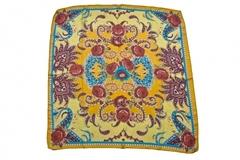 Итальянский платок из шелка желтый с цветами 0601