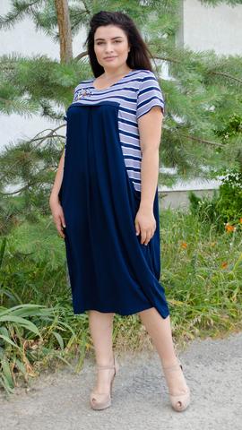 Роксолана лето. Стильное платье для больших размеров. Полоса.