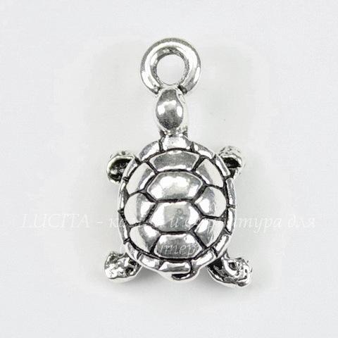 "Подвеска TierraCast ""Черепаха"" 3D (цвет-античное серебро) 20х11 мм"
