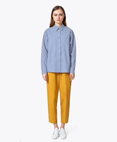 Хлопковая рубашка голубого цвета