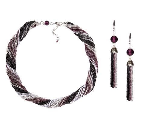 Комплект украшений черно-фиолетовый (длинные серьги из бисера, бусы из бисера 36 нитей)