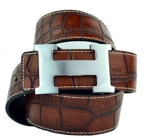 Модный оригинальный брендовый мужской джинсовый прошитый коричневый ремень HERMES (Гермес) 40 мм из искусственной кожи под крокодила 40brend-KZ-066