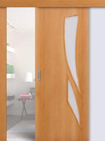 Дверь раздвижная Сибирь Профиль Стрелиция (С-2), цвет миланский орех, остекленная