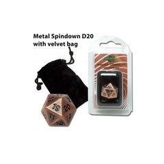 Blackfire Dice - D20 Metal Spindown with velvet bag - Antique Copper