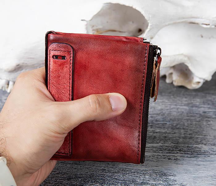 WL302-3 Мужской красный кошелек с отделениями на молнии фото 09