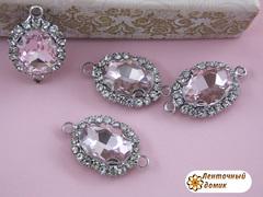 Камень овальный в стразах и цапах с ушками розовый