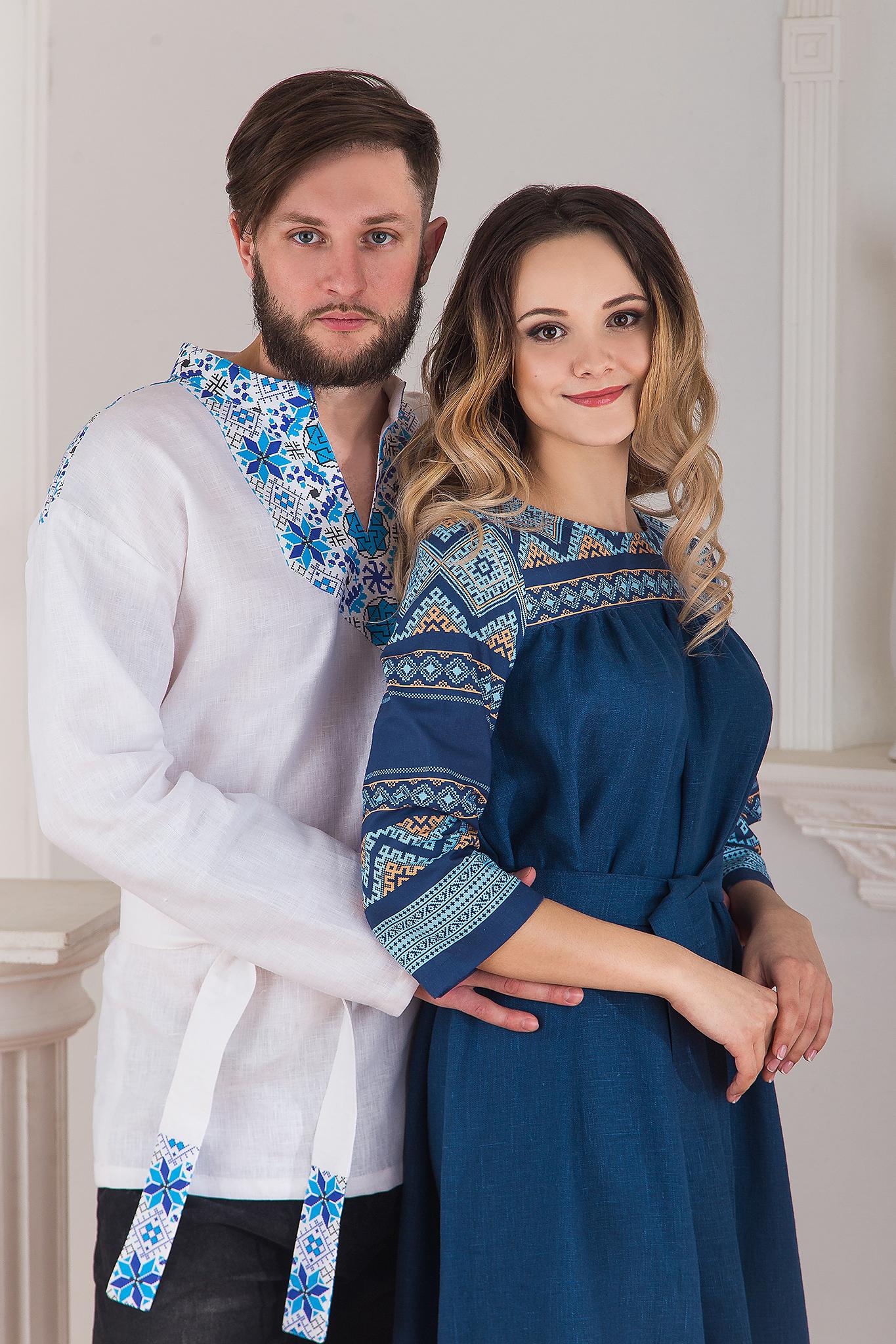 Русская рубаха Северная с платьем Каспийское