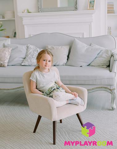 Детское стильное кресло в стиле 60-х, песочный 2