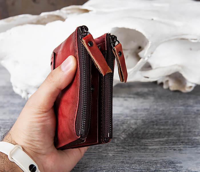 WL302-3 Мужской красный кошелек с отделениями на молнии фото 10