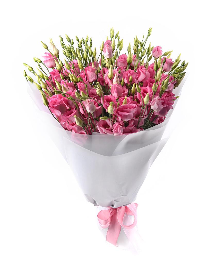 Букет из 21 малиново-розовой эустомы