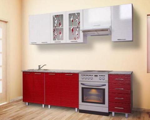 Кухня ВИЕЛЛА 1,5 страйп красный