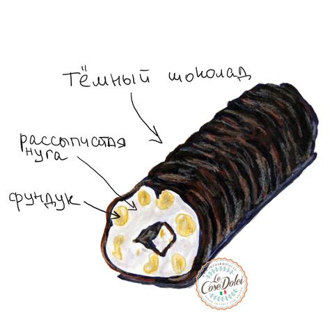 Рулет «Триполино» из рассыпчатой нуги с фундуком I.G.P., покрытый шоколадом, 100 г