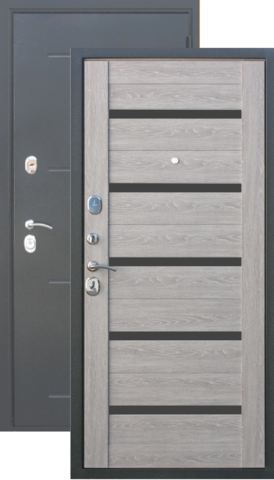 Тёплая дверь входная Бронин Булат 10, 2 замка, 1,4 мм  металл, (серебро антик+дуб серый)