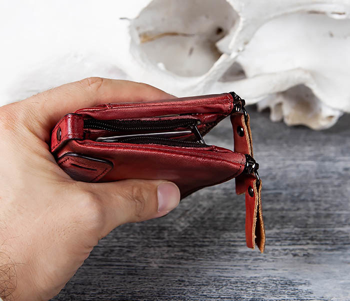 WL302-3 Мужской красный кошелек с отделениями на молнии фото 11
