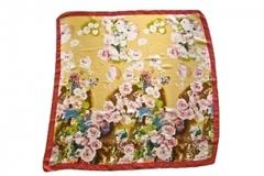 Итальянский платок из шелка коричневый с цветами 4176