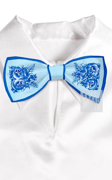 Галстук - бабочка с Гжельской росписью ( цвет голубой )