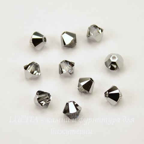 5328 Бусина - биконус Сваровски Crystal Light Chrome 4 мм, 10 штук