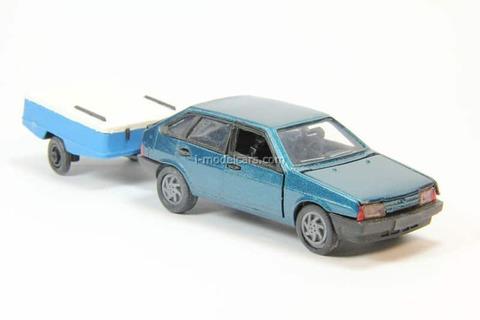VAZ-2109 Lada Samara hatchback 5-doors blue metallic with trailer Skif Agat Mossar Tantal 1:43