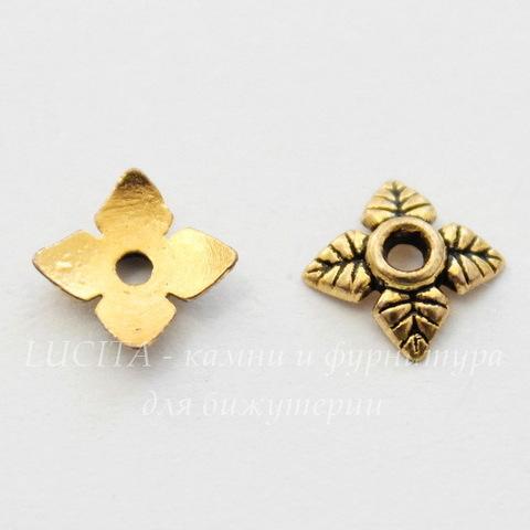 """Шапочка для бусины """"4 листика"""" 6 мм (цвет - античное золото), 10 штук"""