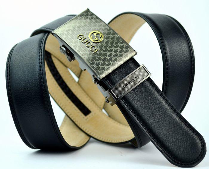 fa5417a4dda4 Стильный кожаный дутый чёрный прошитый брючный ремень с автоматической  пряжкой Gucci (копия) 35Brend-