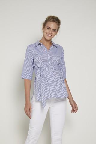 Блузка 09349 синяя/белая полоска