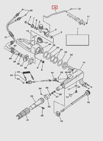 Тяга переключения передач для лодочного мотора T40 Sea-PRO (14-10)