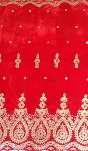 Картинка Ткань Бархат С Расшитым Купоном Ромашка (Ширина 130 см, полиэстер)