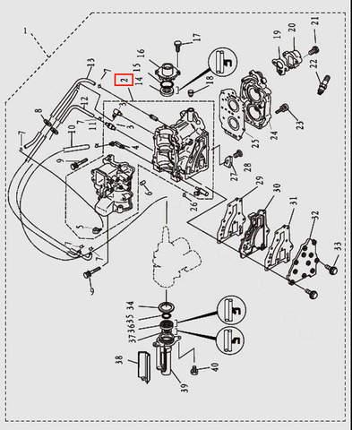 Блок цилиндров в сборе для лодочного мотора T9.8 Sea-PRO (2-2)