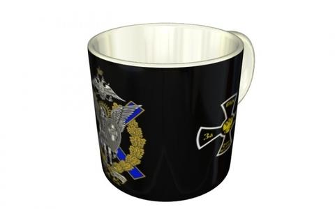"""Кружка """"Союз Михаила Архангела"""" (знак по центру на чёрном фоне с крестами)"""