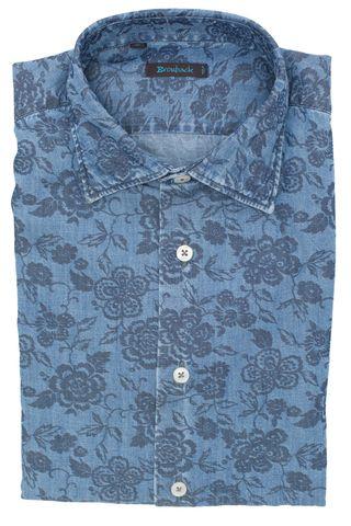 Синяя рубашка из вареного денима с цветочным принтом