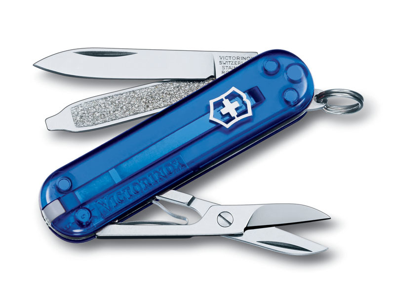 Нож-брелок VICTORINOX Classic SD 58 мм 7 функций полупрозрачный синий VC6223.2