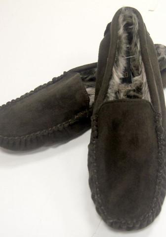 Тапочки мужские домашние коричневые в виде мокасин