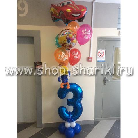 shop-shariki.ru фольгированная цифра 3 с фонтаном шаров