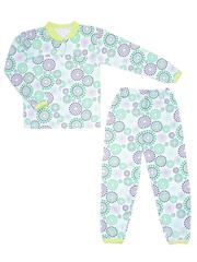 641-2 пижама детская, бело-зеленая