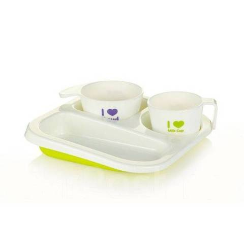 Набор посуды. Поднос-тарелка, стакан, суповница 12+, зеленый