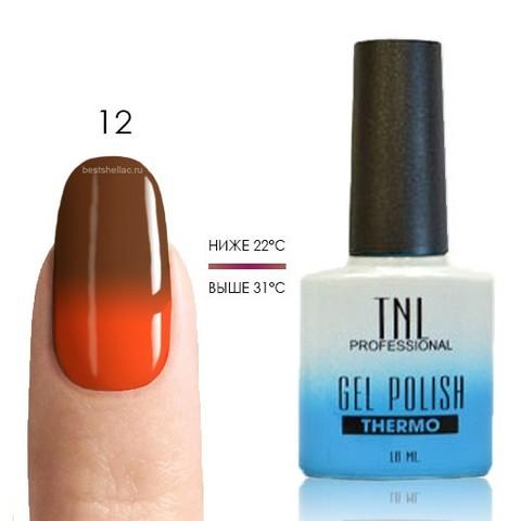 TNL, Термо гель-лак № 12 - шоколадный/оранжевый, 10 мл