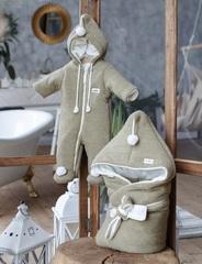 Комплект на выписку для новорожденных осень весна Гномик оливковый