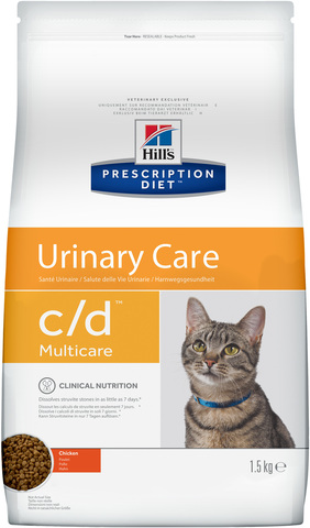 купить хиллс  диетический Hill's™ Prescription Diet™ Feline c/d™ Multicare Urinary Care сухой корм для взрослых кошек, профилактика МКБ с курицей 1.5 кг