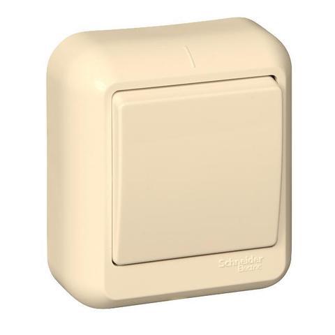 Выключатель одноклавишный с металлической пластиной 10 А 250 В в розничной упак. Цвет Слоновая кость. Schneider Electric(Шнайдер электрик). Prima(Прима). VA1U-112M-SI