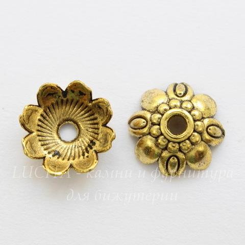 """Шапочка для бусины """"8 лепестков"""" 9х3 мм (цвет - античное золото), 10 штук"""