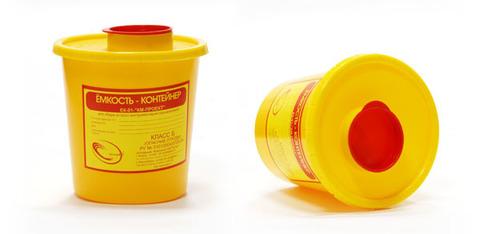 Желтый контейнер (ёмкость) для утилизации игл 3л