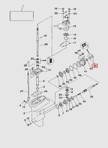 Сальник горизонтального вала 17х30х6  для лодочного мотора T15, OTH 9,9 SEA-PRO (16-44)